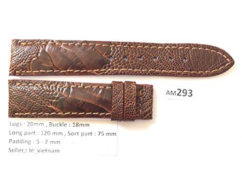 AM293 # Dark Brown GENUINE OSTRICH LEATHER SKIN WATCH STRAP BAND 20mm / 18mm