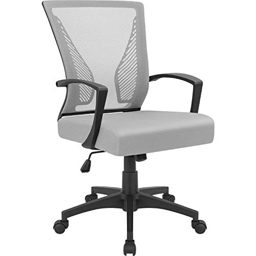Furmax Gray7504 Office Mid Back Swivel Lumbar Support Desk, Computer Ergonomic Mesh Chair with Armrest (Gray)