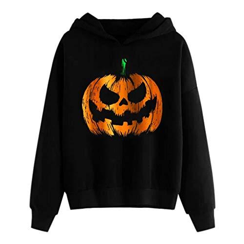Womens Halloween Shirt Pumpkin Print Long Sleeve Pullover Blouse Splice Skeleton Hoodies T Shirt Tunic Black]()