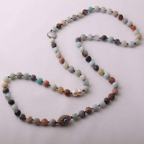 GAJSDJHN Jewelry Necklace Fashion Blue Green Amazonite Beads Handmade Black Crystal Paved Natural Stone Necklace