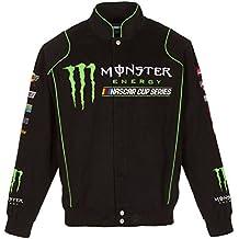 2017 Nascar Monster Energy Mens Black Twill Nascar Jacket by JH Design