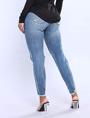 Couleur Skinny Jean Haute YFLTZ pour Pantalon en Blue Unie Taille Femme B5qT8w