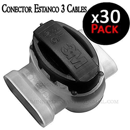 Utilizado por instaladores de riego al conectar cables el/éctricos PACK 30 fichas de empalme. Conector estanco para 3 cables el/éctricos de 1,5 mm 30V m/áximo