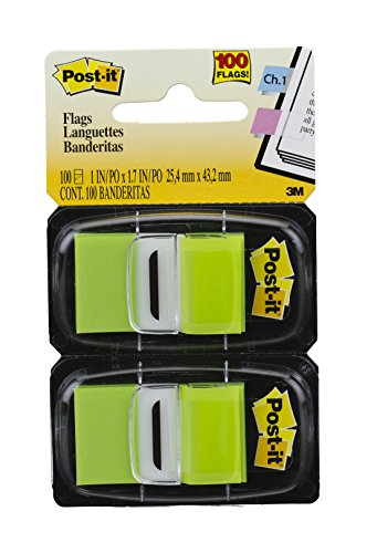 Post-it Standard Page Flags in Dispenser  1in Wide, Bright Green 100 Flags, 680-BG2