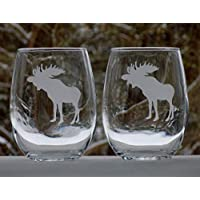 Moose Glasses Set, Rustic Cabin Decor for the Home, Set of 20oz Etched Wine Glasses