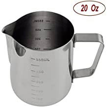 Autoark Durable 18/8 Gauge Stainless Steel Steaming Frothing Pitcher for Espresso Machines,Milk Frothers & Latte Art,20 Oz,AH-001