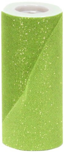 Berwick Offray Apple Green Sparkle Tulle by the Bolt, 6'' W, 25 -