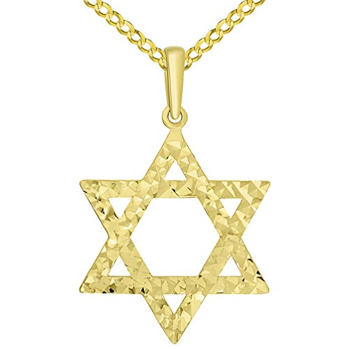 (Solid 14k Yellow Gold Textured Hebrew Star of David Pendant Cuban Necklace, 20