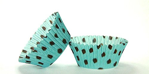 500pc Hot Dot Design Aqua With Brown Dots Standard Size Cupcake Baking Cups Liners Wrappers