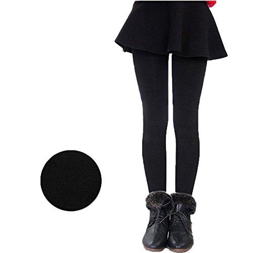 Weigou Winter Girls Leggings Pants Thick Warm Fleece Lined Thermal Stretchy Pants (L(11-14 Yeas ,Height 140-150cm), Black) Girls Thermal Legging