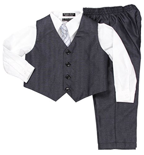 Caldore USA Boys white Shirt Vest Set Size (Wear Suit Vest)