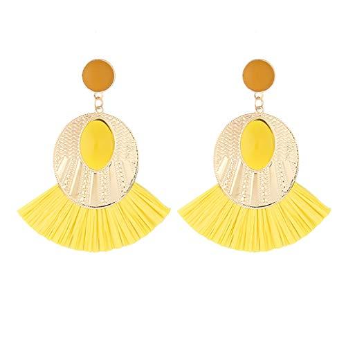 Twinsmall Dangle Earrings Tassel Hoop Earrings Bohemia Fan Shape Drop Earrings Dangle Hook Eardrop for Women Party (Yellow 6)