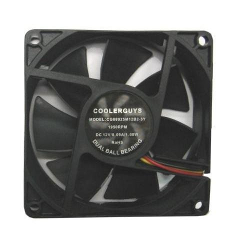 Coolerguys Dual Ball Bearing 12v 3pin Fan (80x25mm, Medium Speed) (80x80x25mm Low Noise Ball Bearing)