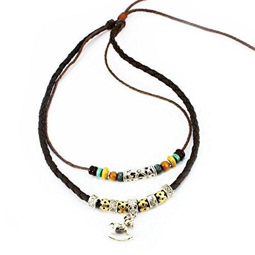 MORE FUN Double Braided Leather Rope Nekclace Vintage Beads Pendant Necklace Adjustable (Cockhorse)