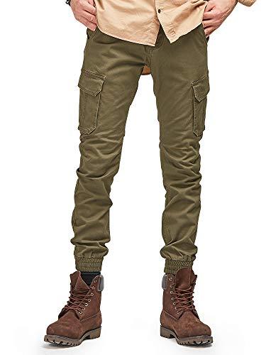 OCHENTA Men's Tapred Leg Jogger Pants, Stretch Twill Cargo Pockets Solid Army Green Tag 36 - US 34 - Leg Wide Twill Trouser