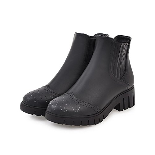 Pull Heels Black Women's Boots Toe Round Kitten Materials AgooLar Blend On x0vIavq