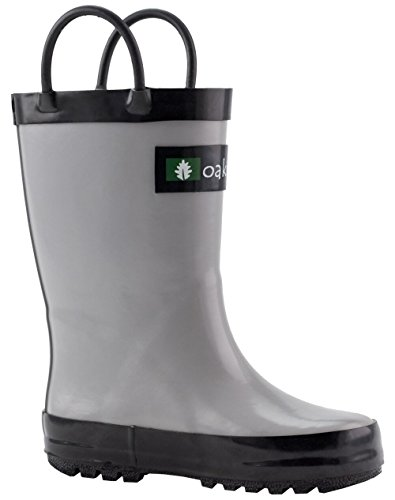 amp; Oakiwear Black Rain with Gray On Handles Waterproof Easy Kids Rubber Boots PHqBrPv