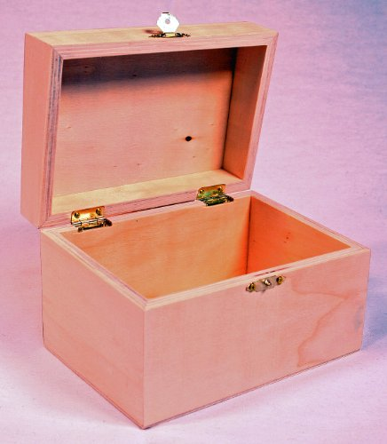 [Creative Hobbies® Ready to Decorate Wooden Recipe Box with Hinged Lid and Front Clasp - 6.75