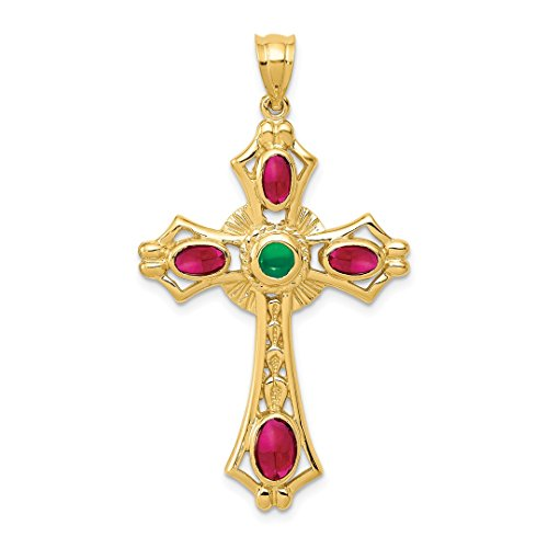 14k Yellow Gold Red Ruby Green Emerald Cabochon Cross Religious Pendant Charm Necklace Celtic Iona Fine Jewelry For Women Gift Set