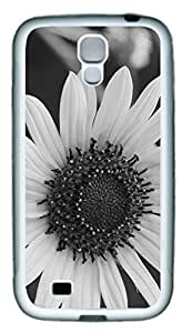 Black And White Daisy Flower Theme Samsung Galaxy S4 I9500 Case TPU Material