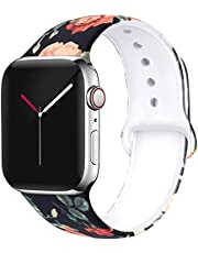 Printed Soft Silicone Band Size 38/40 MM Strap For Apple Watch Series 6/5/4/3/2/1 - Flowers