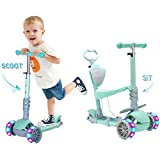 5 in 1 Kids Kick Scooter, 3 Wheels Walker with Removable Seat and Back Rest, 4 Adjustable Height for Toddlers 1-8 Years Old Support 50 kg