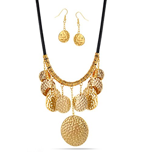 TAZZA GOLD-TONE HAMMERED DISC EARRINGS AND STATEMENT NECKLACE SET #SQ4945G - Gold Tone Hammered Disc
