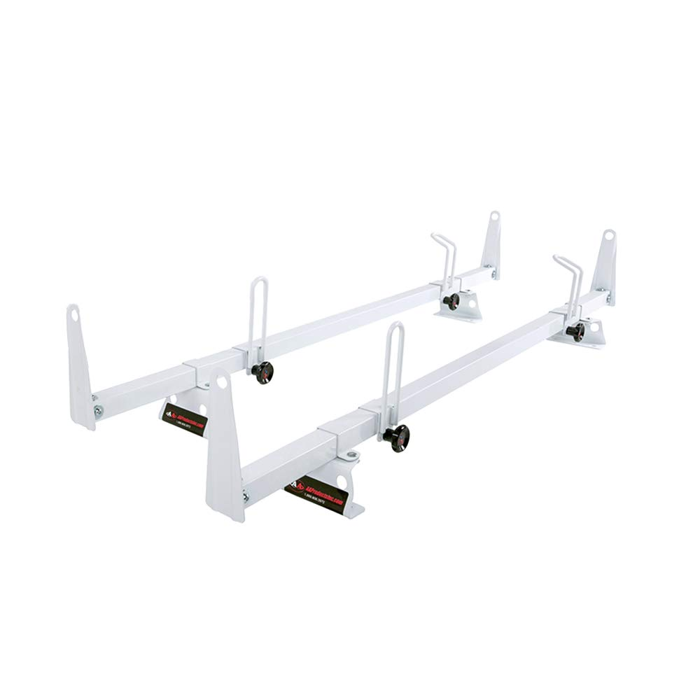 AA-Racks Model X202-TR Transit 2015-On Heavy Guage Steel 3 Bar Van Roof Rack System w//Ladder Stopper White