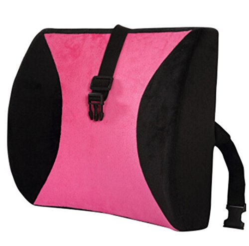 Moyishi Pink And Black High Resilient Memory Foam Seat Back Lumbar Cushion Support Pillow Car Office Chair Back Support (Support Pillow Lumbar Sacral)