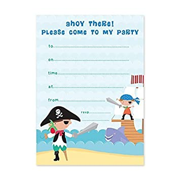 pirate party invitations pack of 20 amazon co uk toys games