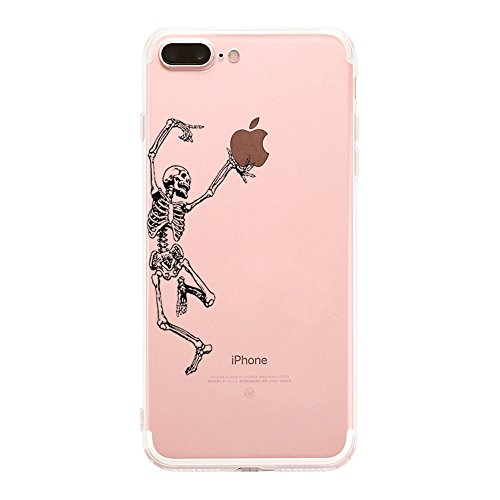 (Matop Compatible for iPhone 7 Plus iPhone 8 Plus Case Clear Shockproof Ultra Thin Protective Phone Case Soft Silicone Cute Slim TPU Bumper Cover for iPhone 8 Plus /7 Plus 5.5 inch (Dancing Skeleton))