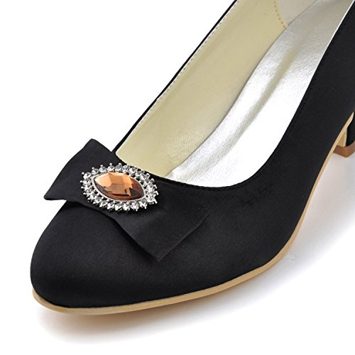 Jewel Womens Satin Wedding Shoes Minitoo Black Heel Party Kitten Evening GYMZ665 Bridal O7RHfz