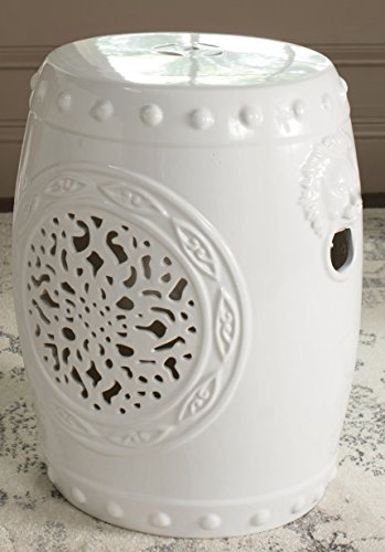 Safavieh Castle Gardens Collection Flower Drum White Glazed Ceramic Garden Stool