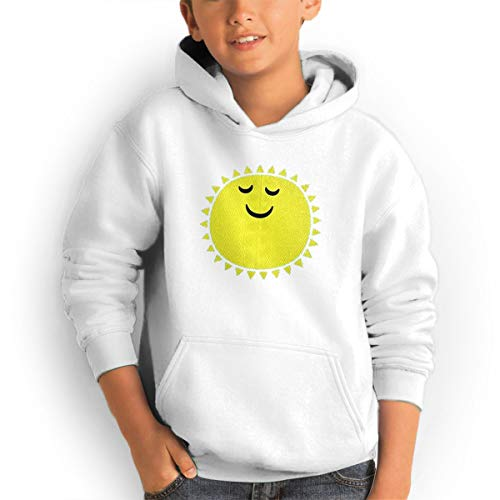 Youth Hoodies Cute Sun Ggirl%Boy Sweatshirts Pullover with Pocket White 32 by Shenhuakal