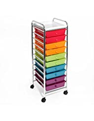 Seville Classics 10-Drawer Organizer Cart, Pearlescent Multi-...