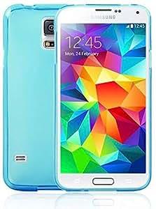Buding Style Samsung Galaxy S5 SV G900 SM-G900F G900H G900I G900K G900L G900S i9600 TPU Gel Silicone Cover Case Include Calans Screen Protector -(Light Blue)