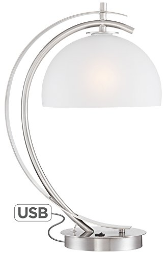 Dome Glass Table Lamp (Possini Euro Calvin Glass Dome Table Lamp with USB Port)