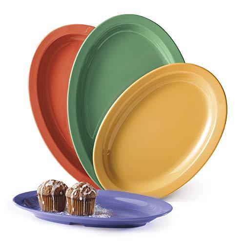 10'' Melamine Oval Platter, Break Resistant, Dishwasher Safe, Mix of Madri Gras Colors by GET OP-610-MIX (Pack of 12)