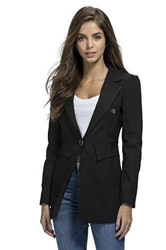 - My Wonderful World Women's OL Casual One Button Jacket Long Sleeve Office Blazer (Tag Asian 3XL) Black US 8
