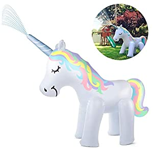 Kimi House Giant Inflatable Unicorn Sprinkler with Over 4.8 Feet Tall, 6.6Feet Long, Water Toys, Yard Summer Sprinkler…