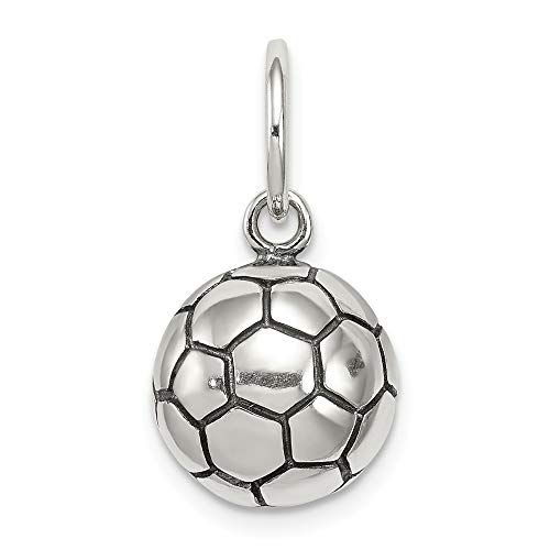 Jewelry Pendants & Charms Themed Charms Sterling Silver Antique Soccer Ball Charm