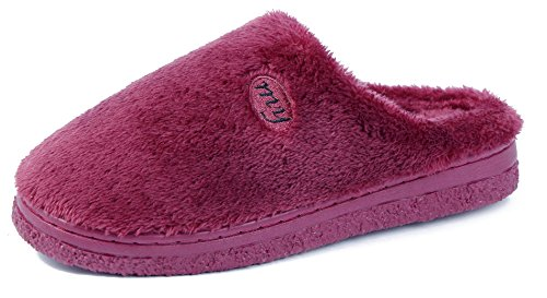 AgeeMi Shoes Damen Warm Rund Zehe Flache Hausschuhe Unisex Erwachsene Pantoffeln Dunkel Rot