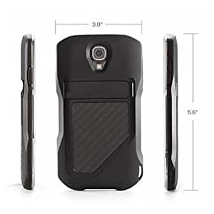 New W/Matte Machined Aluminum Metallic Attack Carbon Fiber Stand Case for Samsung S4 I9500 SIV Balck