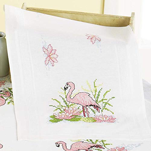 Herrschners® Flamingos in The Lilies Table Runner Stamped Cross-Stitch Kit