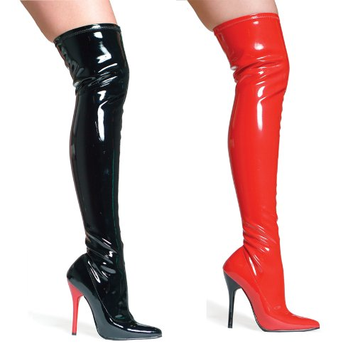 Ellie Shoes Women's 6 Inch Pointed Stiletto Heel Thigh High Stretch Boots (Black/Clear;11)