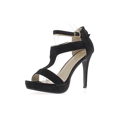 Gran sandalias tamaño 12cm negro aspecto gamuza plataforma 3cm