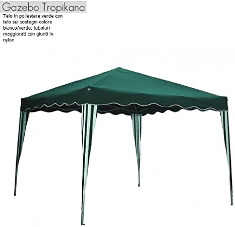 Gazebo per giardino colore bianco e verde copertura cm 300x400x260