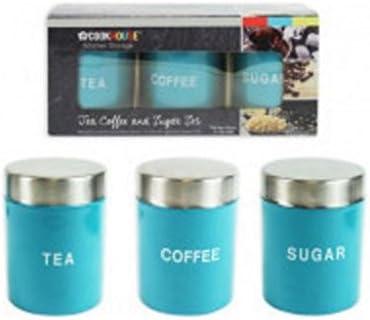 BOCAUX POTS se 3 x acier inoxydable NOUVEAU thé café sucre de Rangement Cuisine Boîtes
