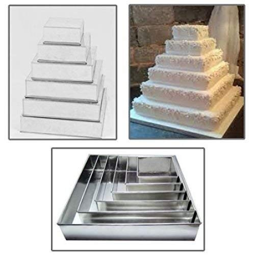 Set of 6 Tier Square Multilayer Birthday Wedding Anniversary Cake Tins/Cake Pans/Cake Moulds 6