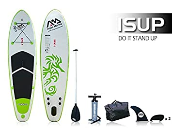 Aqua Marina SPK de 1 Sup Incluye Remo, Bomba de alto rendimiento, fineses, funda - Inflatable Stand Up Tabla de Surf hinchable verde/blanco: Amazon.es: ...